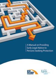 A Manual on Providing Early Legal Advice to Persons Seeking Protection