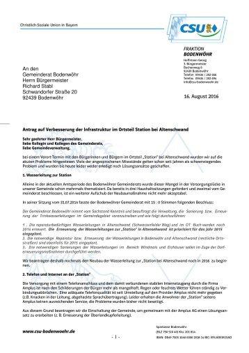 Antrag auf Verbesserung Infrastruktur im Ortsteil Station bei Altenschwand Web