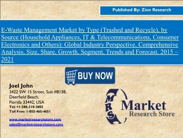 Global E-Waste Management Market Set for Rapid Growth, To Reach Around USD 58.0 Billion by 2021
