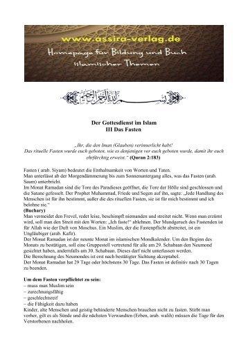 Der Gottesdienst im Islam Das Fasten www.assira-verlag.de