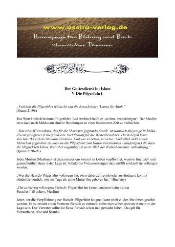 Der Gottesdienst im Islam Die Pilgerfahrt www.assira-verlag.de