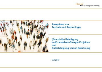 """Akzeptanz von Technik und Technologie – (finanzielle) Beteiligung an """"Erneuerbare Energie-Projekten"""""""