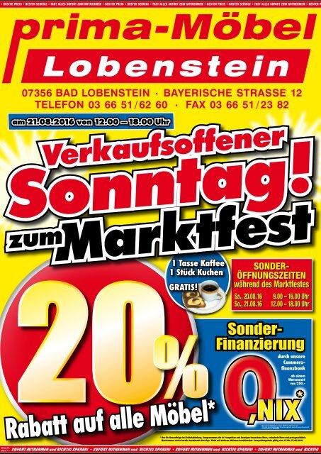 Prima Möbel Lobenstein Verkaufsoffener Sonntag Zum Marktfest 20