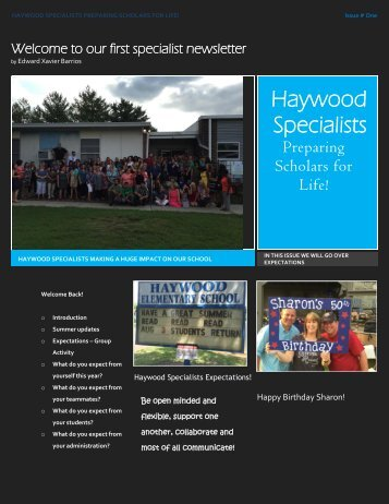 Haywood Specialist Newsletter (1)