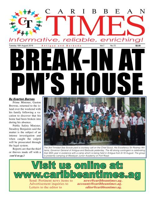 Caribbean Times 72nd Issue - Tuesday 16th August 2016