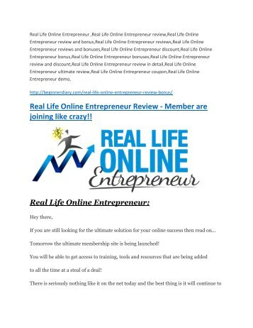 Real Life Online Entrepreneur Review and GIANT $12700 Bonus-80% Discount