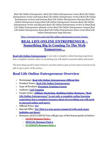 Real Life Online Entrepreneur review - Real Life Online Entrepreneur sneak peek features