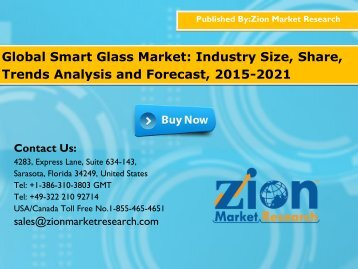 Global Smart Glass Market Will Grow at 19.0% CAGR,during 2016 to 2021
