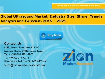 Global Ultrasound Market Will Grow at 5.5% CAGR,during 2016 to 2021