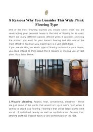 8 Reasons Why You Consider This Wide Plank Flooring Type