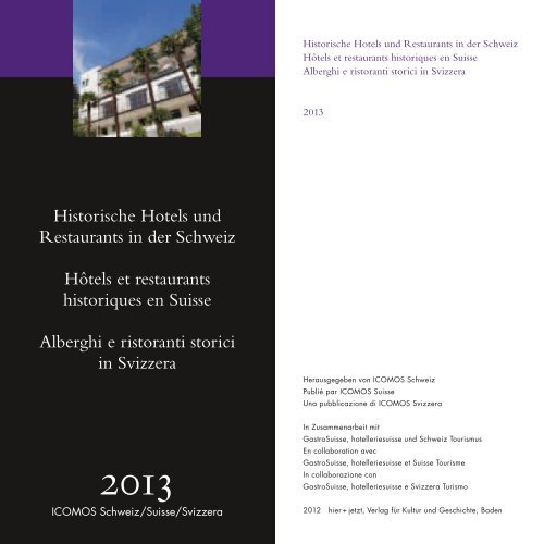 Historische Hotels und Restaurants in der ... - ICOMOS Schweiz