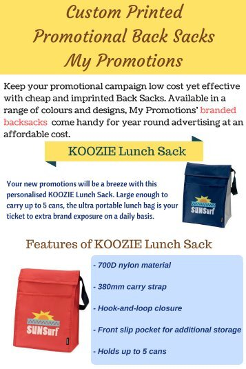 My Promotions Offers Promotional Back Sacks