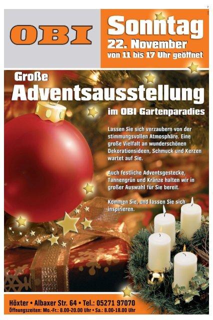 Weihnachtsbeleuchtung Innen Obi.6 Anzeige Obi Höxter Tip