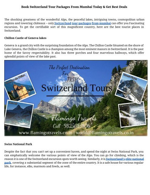 Book switzerland tour packages from mumbai today and get best deals