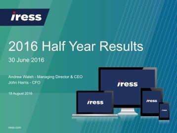 2016 Half Year Results