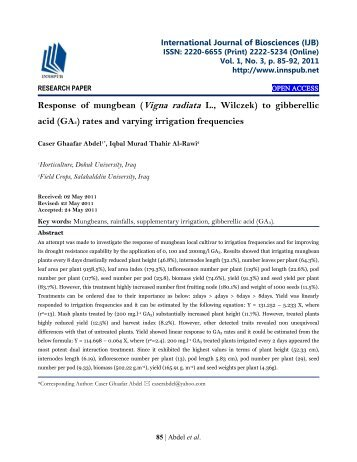 Response of mungbean (Vigna radiata L., Wilczek) to gibberellic acid (GA3) rates and varying irrigation frequencies