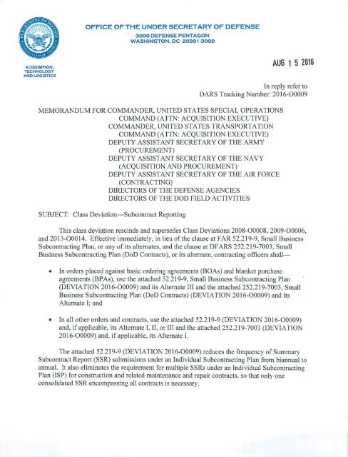 52 219-9 Small Business Subcontracting Plan (DEVIATION 2016