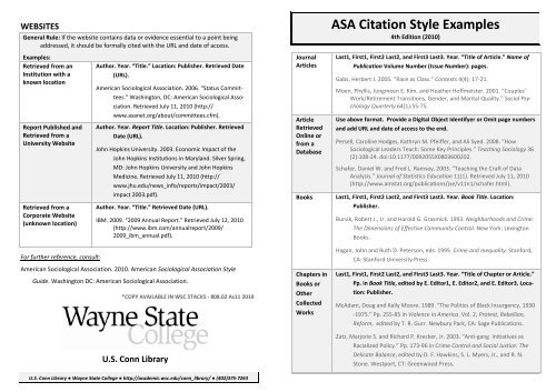 ASA Citation Style Examples - WSC - Wayne State College