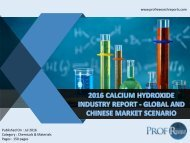 2016 CALCIUM HYDROXIDE INDUSTRY REPORT - GLOBAL AND CHINESE MARKET SCENARIO