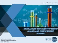 2016 CALCIUM OXIDE INDUSTRY REPORT - GLOBAL AND CHINESE MARKET SCENARIO