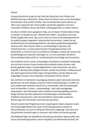 Exposé - das neue Buch von Erich Visotschnig - Mitentwickler von Systemisch Konsensieren