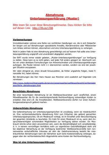 abmahnung und unterlassungserklrung muster - Unterlassungserklarung Muster
