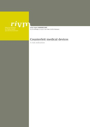 RIVM briefrapport 360060001 Counterfeit medical devices - A risk ...