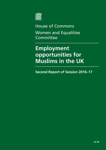 Employment opportunities for Muslims in the UK
