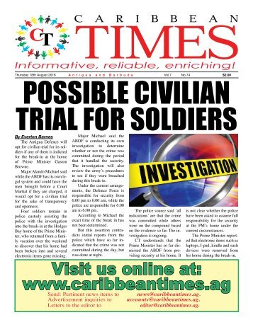 Caribbean Times 74th Issue - Thursday 18th August 2016