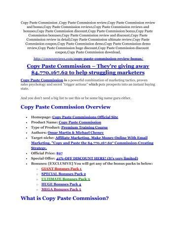 Copy Paste Commission review-(SHOCKED) $21700 bonuses