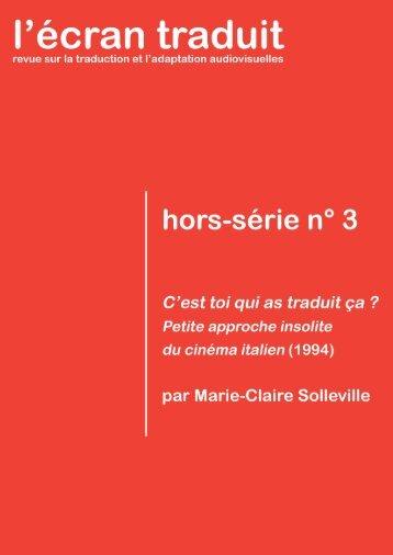 L'Écran traduit Hors-série n° 3 – 2016