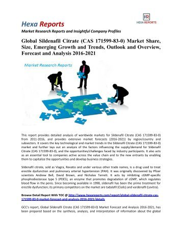 Global Sildenafil Citrate (CAS 171599-83-0) Market Share, Trends and Overview 2016-2021: Hexa Reports