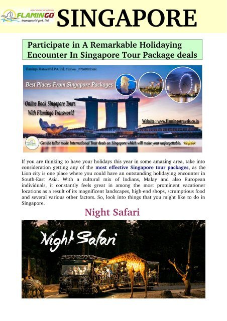 Participate in A Remarkable Holidaying Encounter In Singapore Tour Package deals