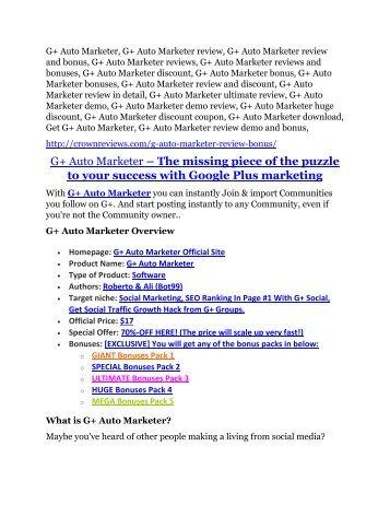 G+ Auto Marketer review demo-- G+ Auto Marketer FREE bonus
