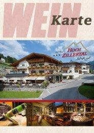 Weinkarte Hotel Hochzillertal, Kaltenbach