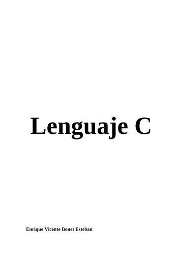 Lenguaje de Programación Lenguaje-C