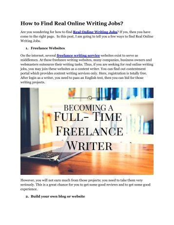 How to Find Real Online Writing Jobs