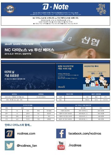 NC 다이노스(61승 41패 2무) vs 두산 베어스(72승 39패 1무)