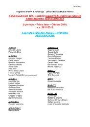 I periodo – Prima fase – Ottobre 2011 - Facoltà di Psicologia ...