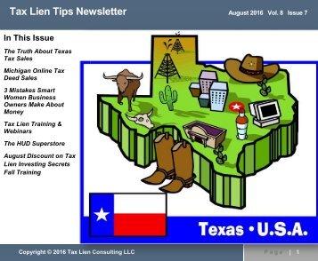 Tax Lien Tips Newsletter