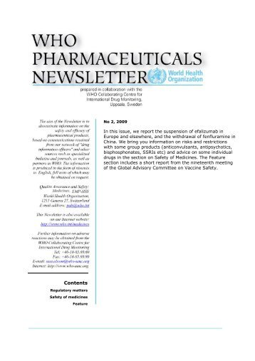 WHO Pharmaceuticals Newsletter 2009, No. 02 - World Health ...
