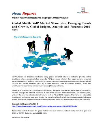 Global Mobile VoIP Market Size, Emerging Trends and Overview 2016-2020: Hexa Reports