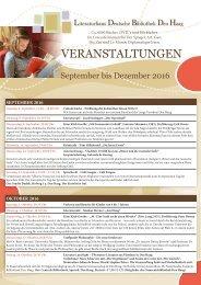 Programm der Deutschen Bibliothek Den Haag Sep-Dez 2016