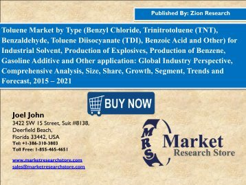 Global Toluene Market Poised to Surge From USD 25.1 billion in 2015 to USD 31.8 Billion by 2020
