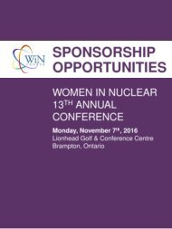 About Women in Nuclear Canada About the Annual Conference