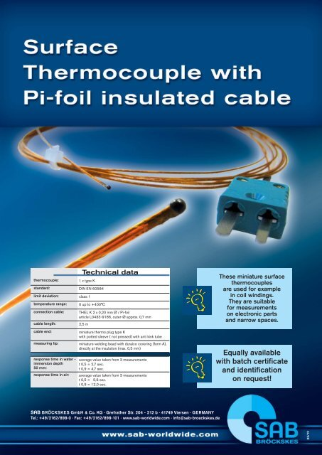 Surface thermocouple with Pi-foil insulated cable