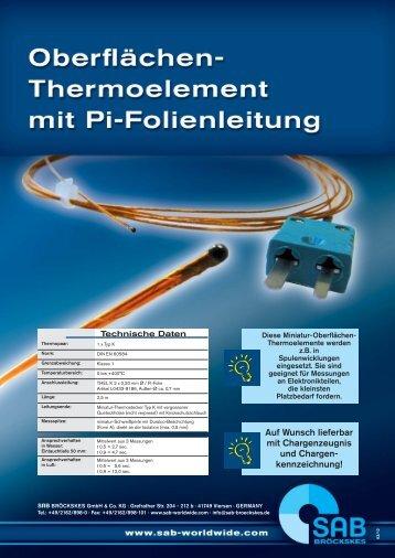 Oberflächen-Thermoelement mit Pi-Folienleitung