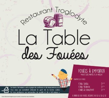 Carte Restaurant la Table des Fouées
