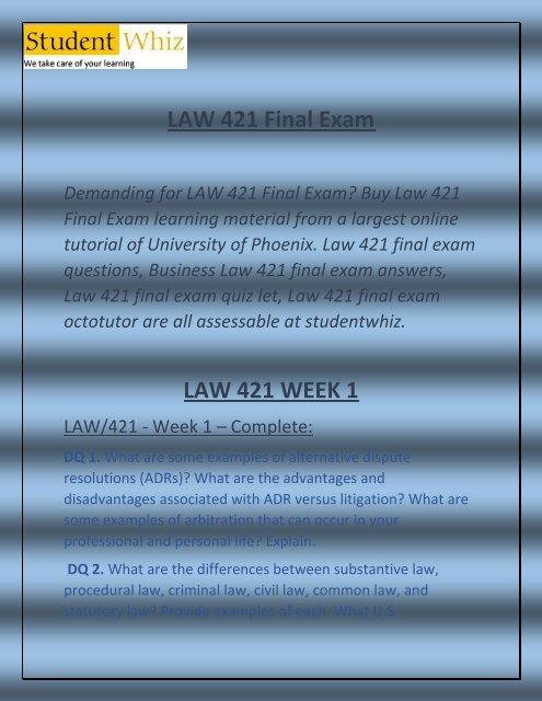 LAW 421 Final Exam - LAW 421 Final Exam Answers   Studentwhiz.com