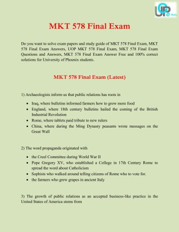 MKT 578 Final Exam | Questions and Answers Free at UOP E Help